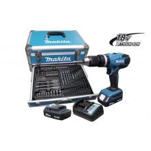 Parafusadeira / Furadeira de Impacto HP457DWEX4 Makita - carregador 220v kit 70 peças